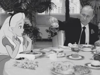 'Alice and Vladimir have tea in wonderland'. Anonymous, Photoshop.