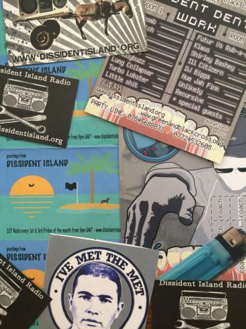 Dissident Island Radio stickers.