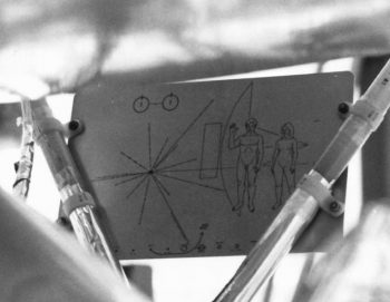 Carl Sagan & Frank Drake [1972] Pioneer plaque. Two gold-anodized aluminium plaques placed aboard Pioneer 10 & Pioneer 11.