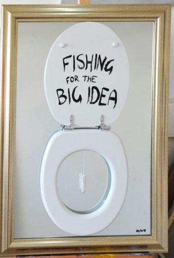 Dasha Loyko [2015] Fishing. Wooden toilet seat, Swarovski-encrusted tampon, oil paint on framed mirror, 73 x 105 cm.