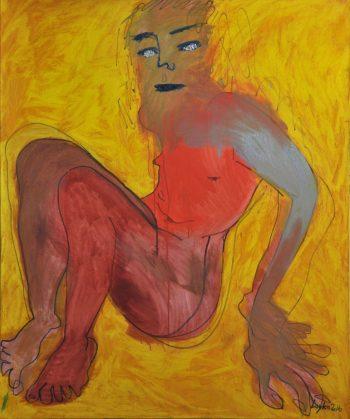 Dasha Loyko [2016] Nude (Grey on Yellow). Oil on canvas, 100 x 110 cm.