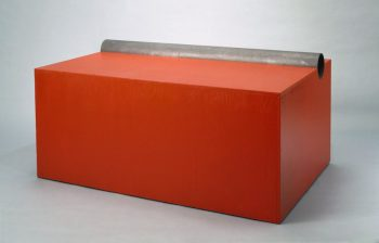 Donald Judd [1963] Untitled. Oil and plywood with iron pipe, 56.2 x 115.1 x 77.5 cm.