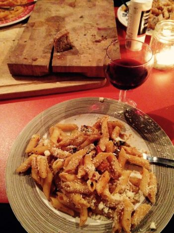 Ratatouille and pasta with wine at the Field Kitchen, 20 Jan 2016. Photo by Maria Christoforatou.