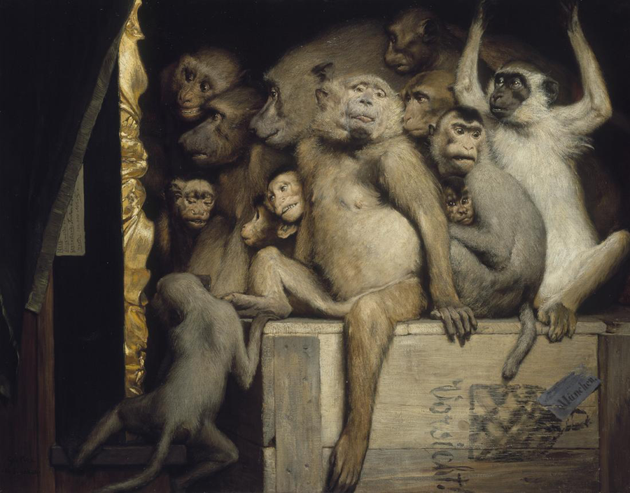 Gabriel Cornelius von Max [1889] Monkeys as Judges of Art. Oil on canvas, 85 × 107cm. Neue Pinakothek, Munich.