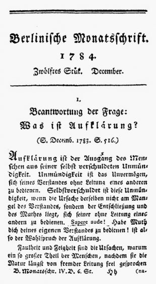 First page of An Answer to the Question: What is Enlightenment by Immanuel Kant, Berlinische Monatsschrift. Dec 1784, pp. 481-494.