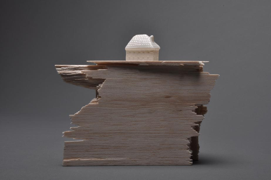 Maria Christoforatou [2011] Untitled (small house). Balsa wood and china porcelain, 18 x 18 x 18cm.