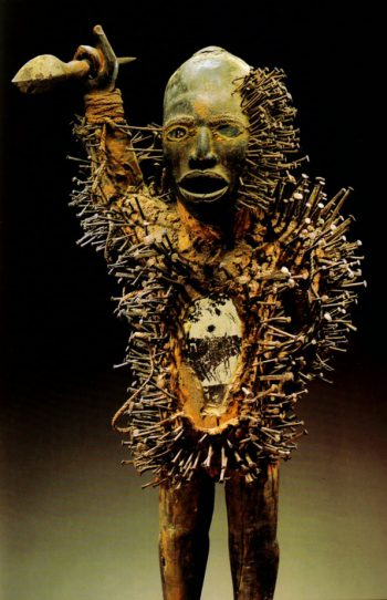 Nkonde. Yombe people, Lower Zaire. Wood, nails, wooden spear and fabric. Height 97cm. Musee Barbier-Mueller, Geneva.