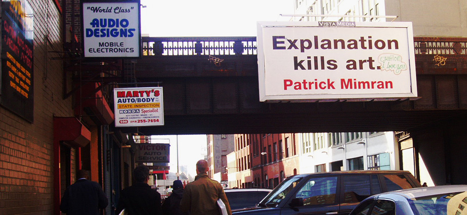 Patrick Mimran [2004] Billboard Project, New York. Photo Sophia Kosmaoglou.