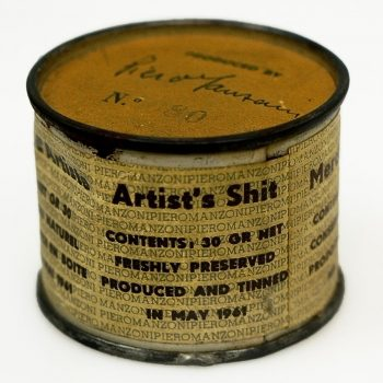 Piero Manzoni [1961] Artist's Shit (Merda d'artista). 90 tin cans, each filled with 30 grams faeces, 4.8 x 6.5 cm.