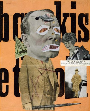 Raoul Hausmann [1919-20] The Art Critic. Lithograph and photographic collage on paper, 318 x 254mm.