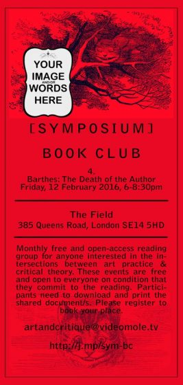 [SYMPOSIUM] #4 Barthes: The Death of the Author, flier.