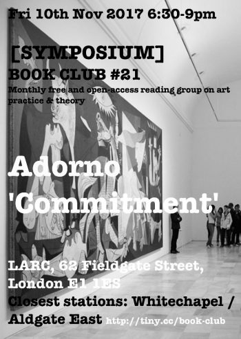 [SYMPOSIUM] #21 Adorno: Commitment. Flyer by Nat Pimlott.