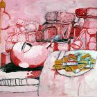 Philip Guston [1973] Painting, Smoking, Eating. Oil on canvas, 196.8 x 262.9 cm.